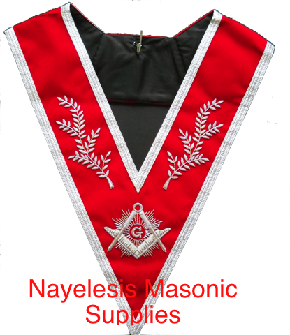 Master Mason Red Velvet Silver Braid  Collar