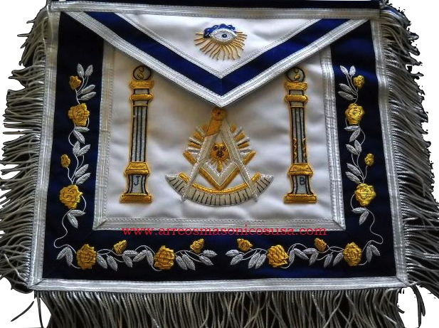 Past  Master B&J Pillars Masonic Blue Apron