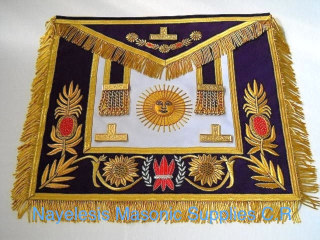 Grand Master Apron Golden Bullion Purple Borders