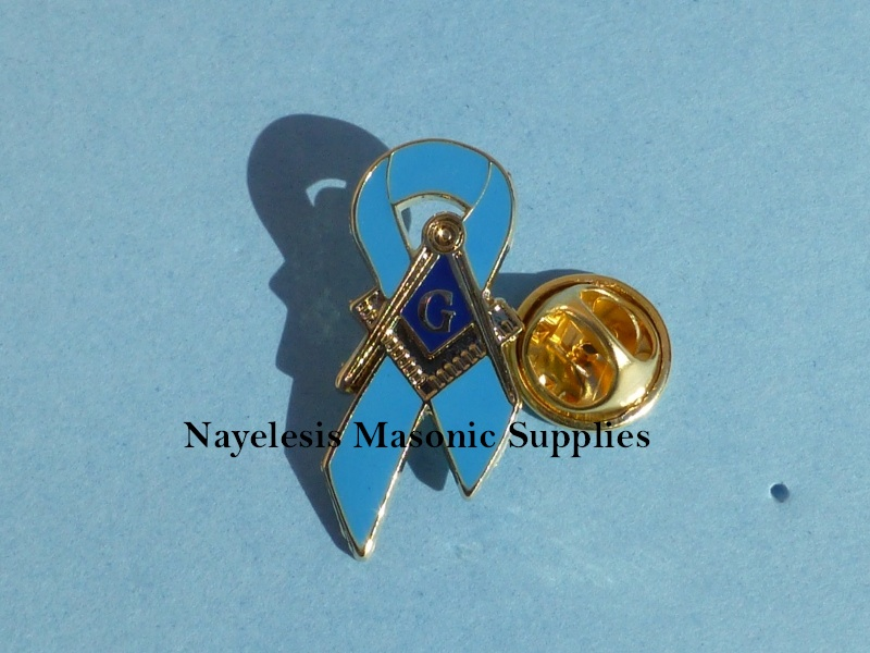 Masonic Cancer Awareness Lapel Pin Blue
