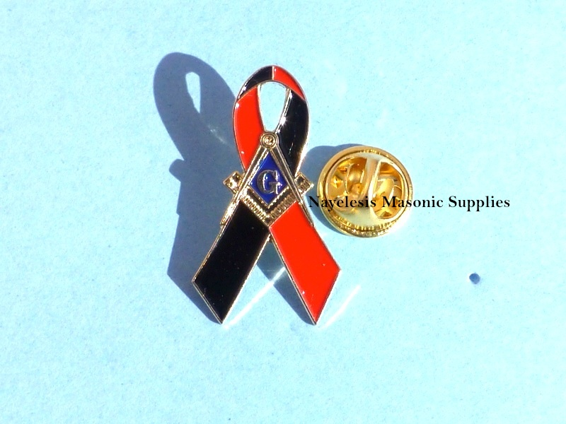 Masonic Red Black Ribbon style Lapel Pin