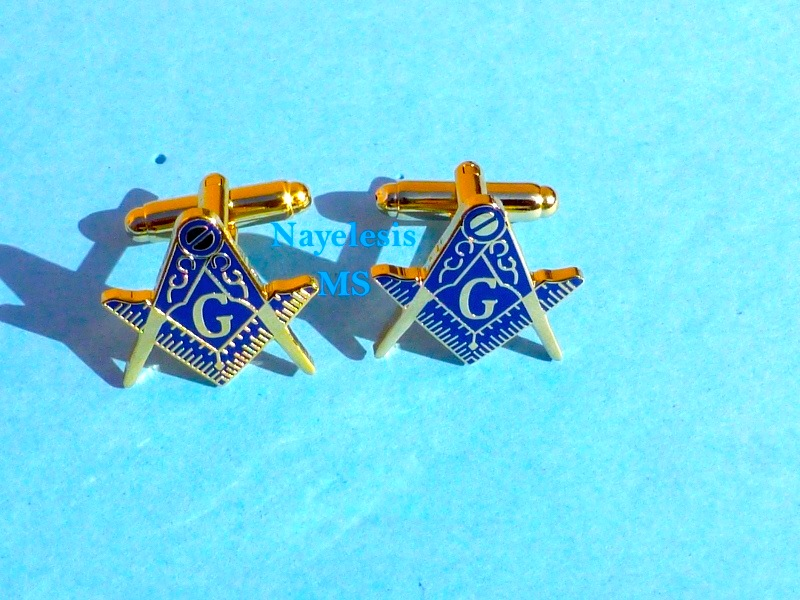 Master Mason Classic Cufflinks BLUE Golden finish