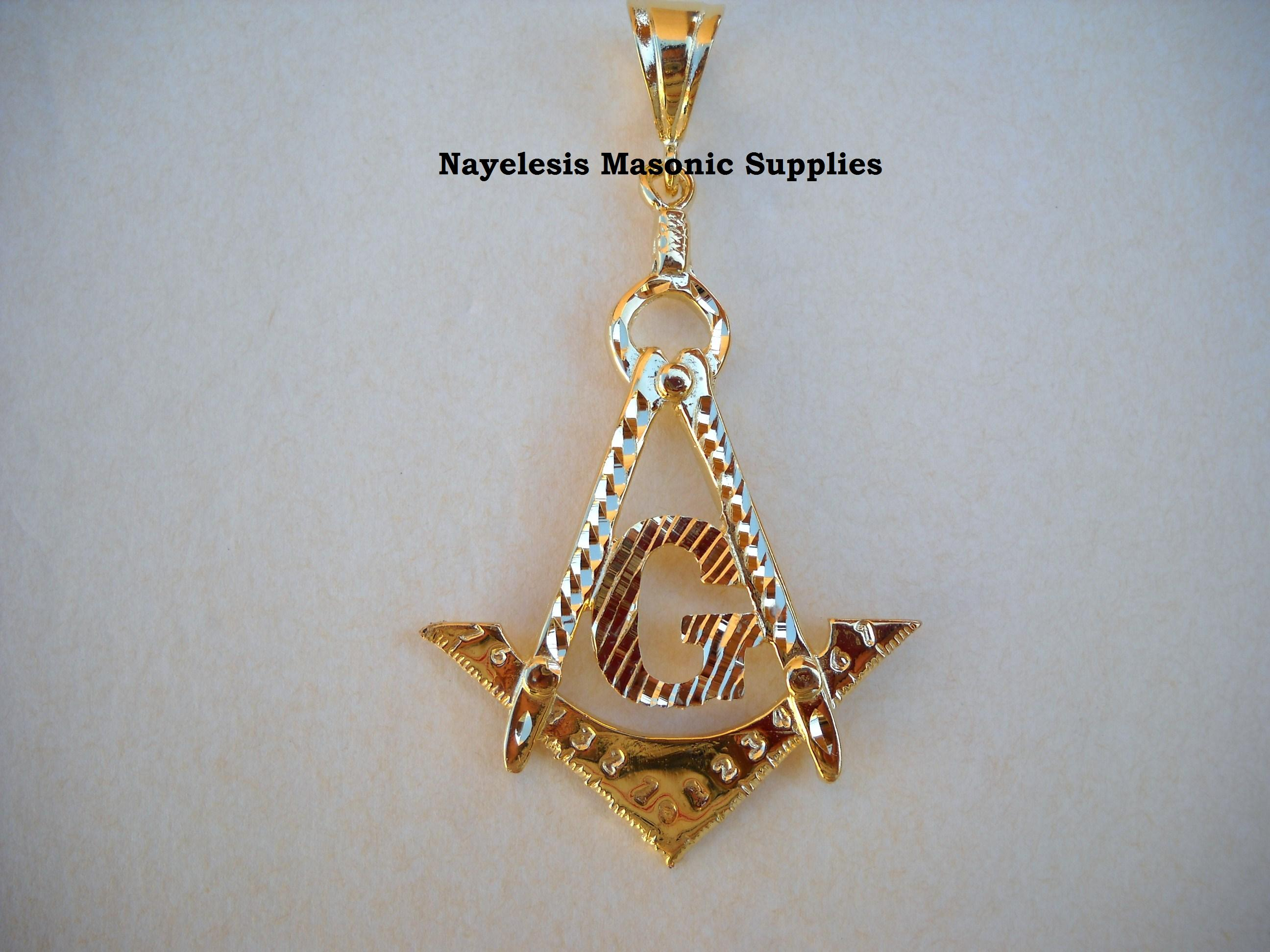 Master Mason Large Pendant Jewel 3.5 inches high by 2 wide
