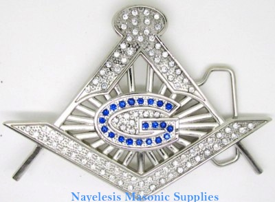 Master Mason stones cut out with stones belt buckle