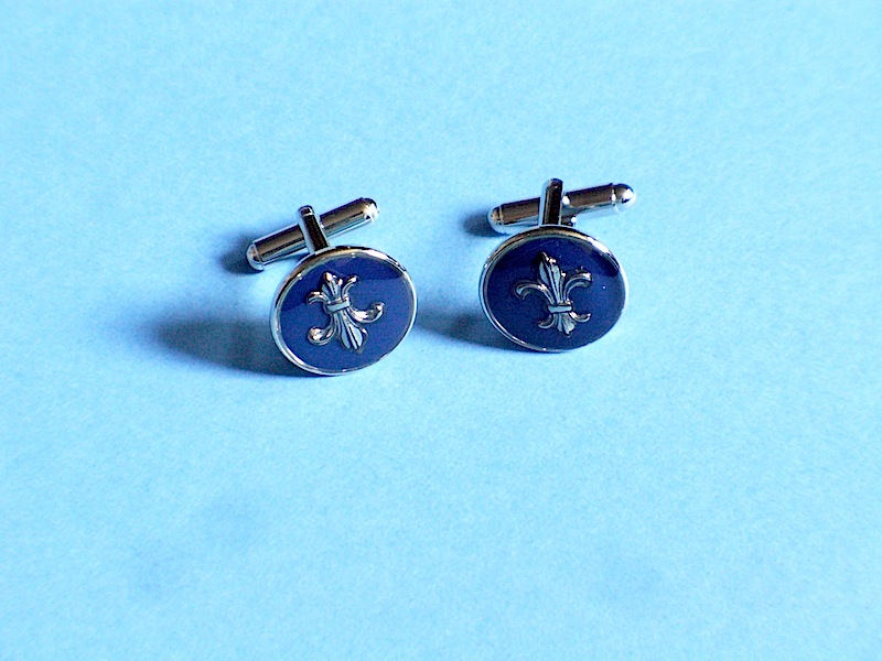 Regular Cufflinks Dark Blue Silver Finish