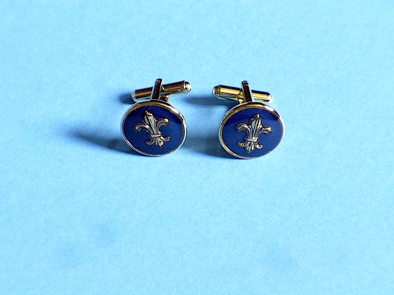 Regular Cufflinks Dark Blue Golden Finish