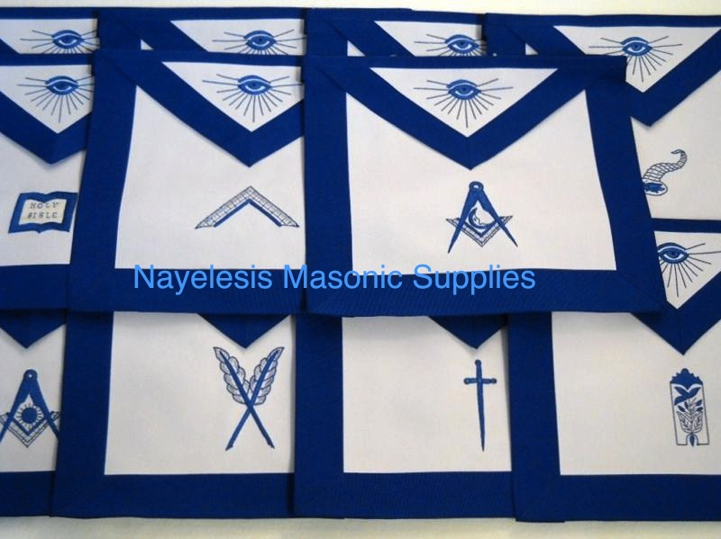 MA- Worshipful Master 11 Apron Masonic Set Blue Lodge