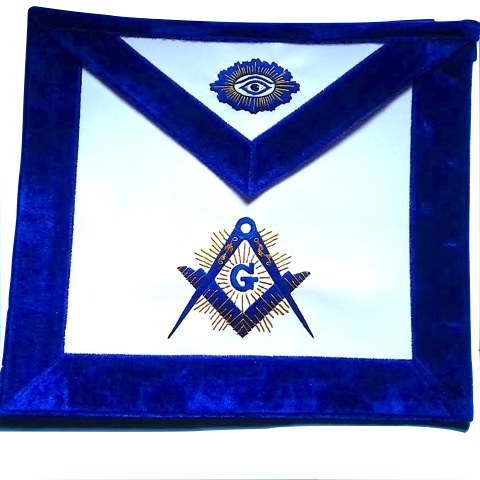 MA- Master Mason Apron Luxury Royal Blue Chenille Golden Bullion