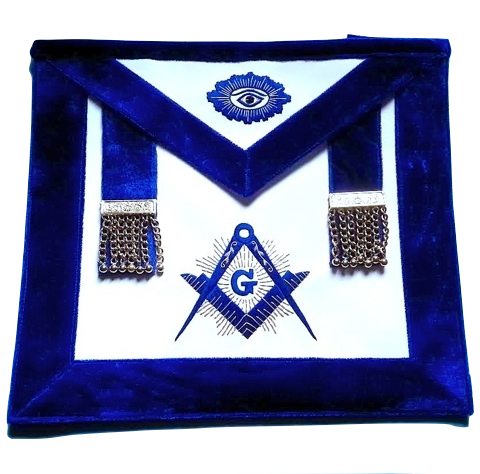 MA-R82 Master Mason Synthetic Heavy Leather Silver Tassels luxury Royal blue Chenille