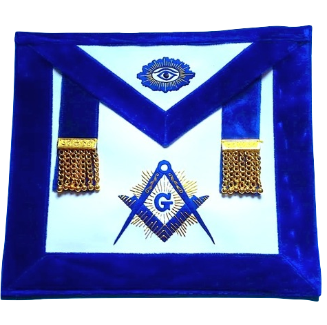 MA- Master Mason Synthetic Heavy Leather Golden Tassels luxury Royal blue Chenille
