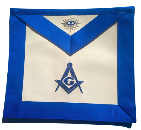 MA- NMS Master Mason Royal Blue Satin Blue Lodge Apron Silver Bullion