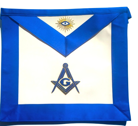 MA- Master Mason Royal Blue Satin Blue Lodge Apron Golden Bullion