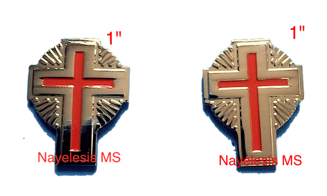 KT Knight Templar Uniform Crosses With Rays Nickel Gold  Plated