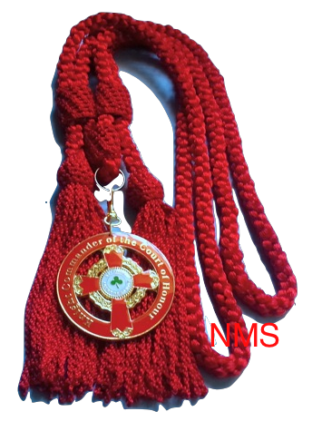 Knight Commander of the Court of Honour Red Silky Cord Collarette Medallion Jewel