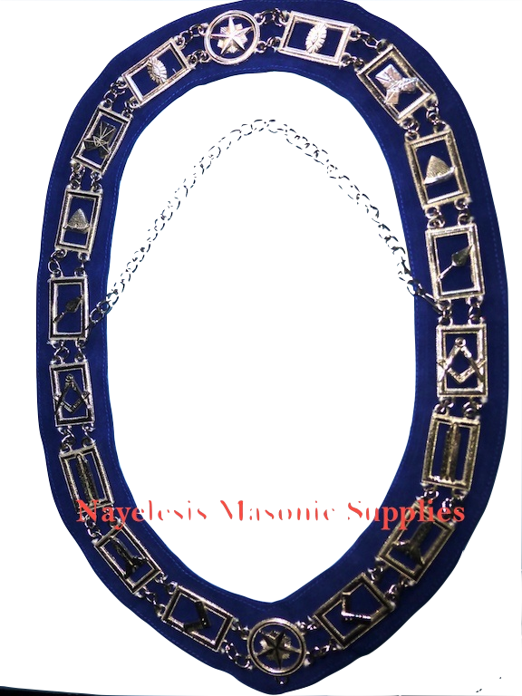 Master Mason Blue Lodge Collar Silver Finish Blue Backing