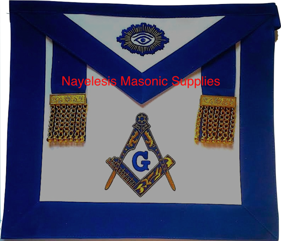 MA-V81G  Delux Master Mason Silver Embroidered with Gold Chain Tassels