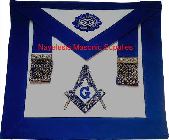 MA-V80 Delux Master Mason Silver Embroidered with Silver Chain Tassels