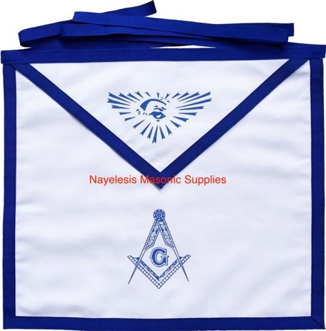 Master Mason Blue Lodge White Cotton Duck Cloth Apron