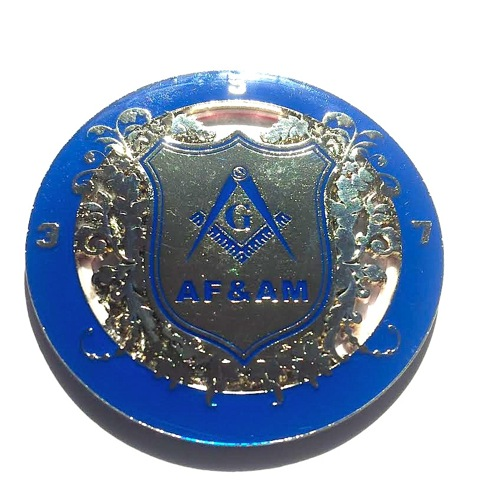 3.5.7 Masonry Key Master Mason Blue And Silver Ancient Free And accepted Masons  Auto Cut Out Emblem