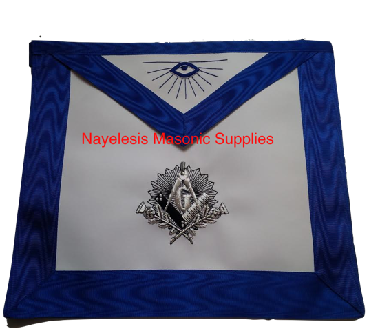 Antique Square And Compass Design  Blue Lodge Master Mason Apron Embroidered with Silver Bullion Black Threads