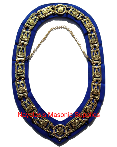 Past Master Chain Collar  Blue Backing Golden Finish
