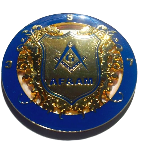 3.5.7 Masonry Key Master Mason Blue And Golden  Ancient Free And accepted Masons  Auto Cut Out Emblem