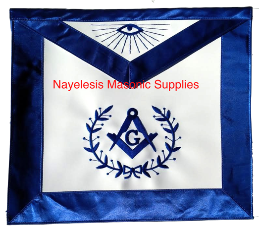 Freemason Blue Lodge Blue Silky Satin Borders Master Mason Apron With Wreath