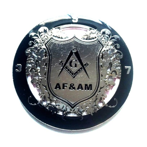 3.5.7 Masonry  Key Master Mason Black and Silver  Finish AF&AM Auto Cut Out Emblem